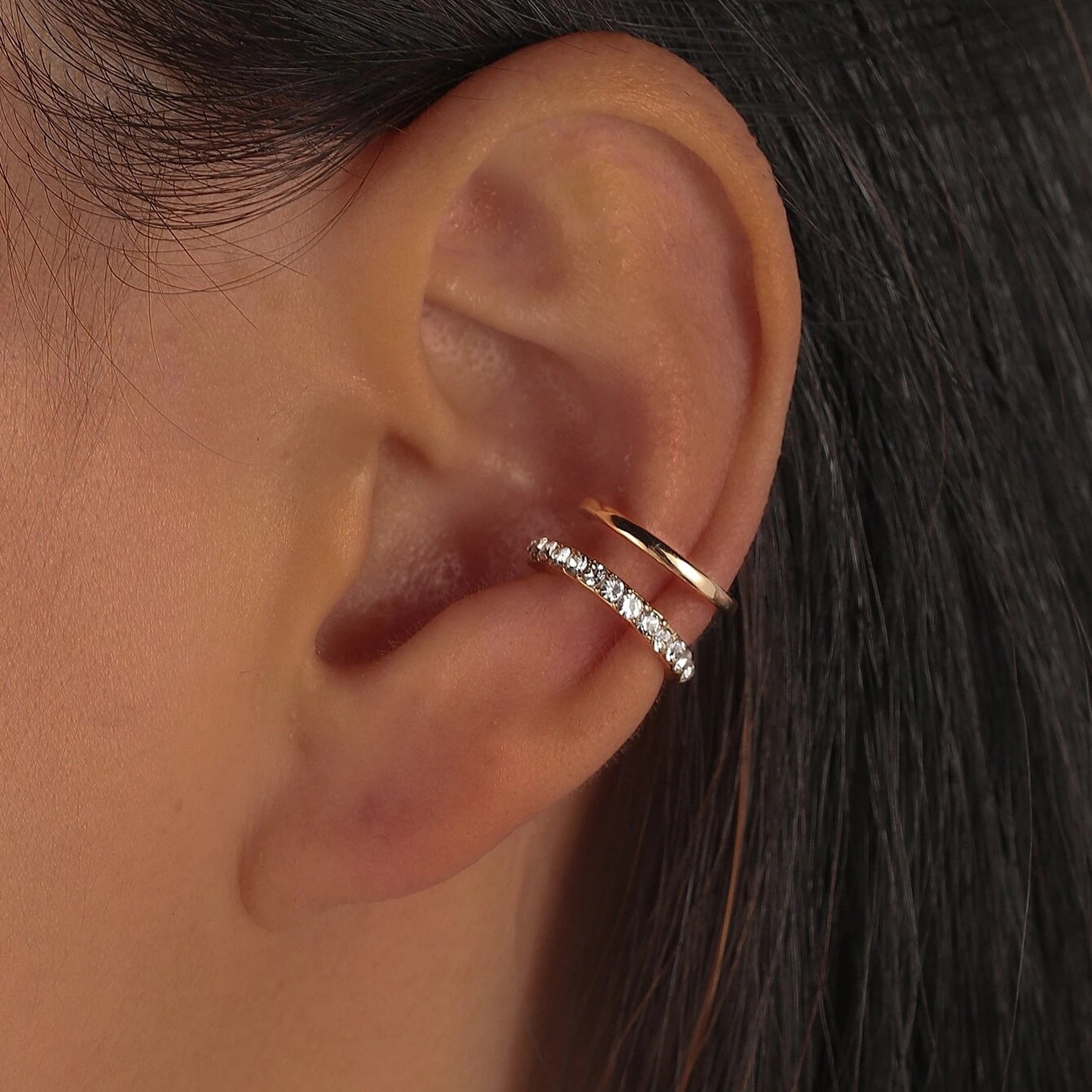 Double-Layer Rhinestone-Encrusted Clip-on Earrings for Stylish Look