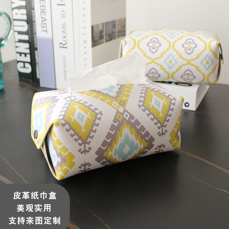 Soft  Synthetic Leather Tissue Box Cover for Good Sight in Study Tables