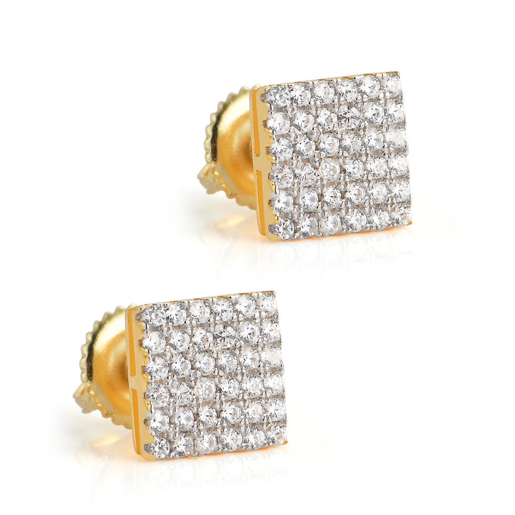 Six-Row Square Sterling Silver Stud Earrings for Romantic Dates