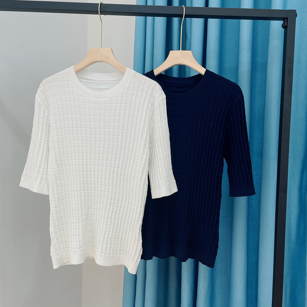 Stretchable Rectangular Pattern 3/4 Sleeve Cotton Sweater for Cold Weathers
