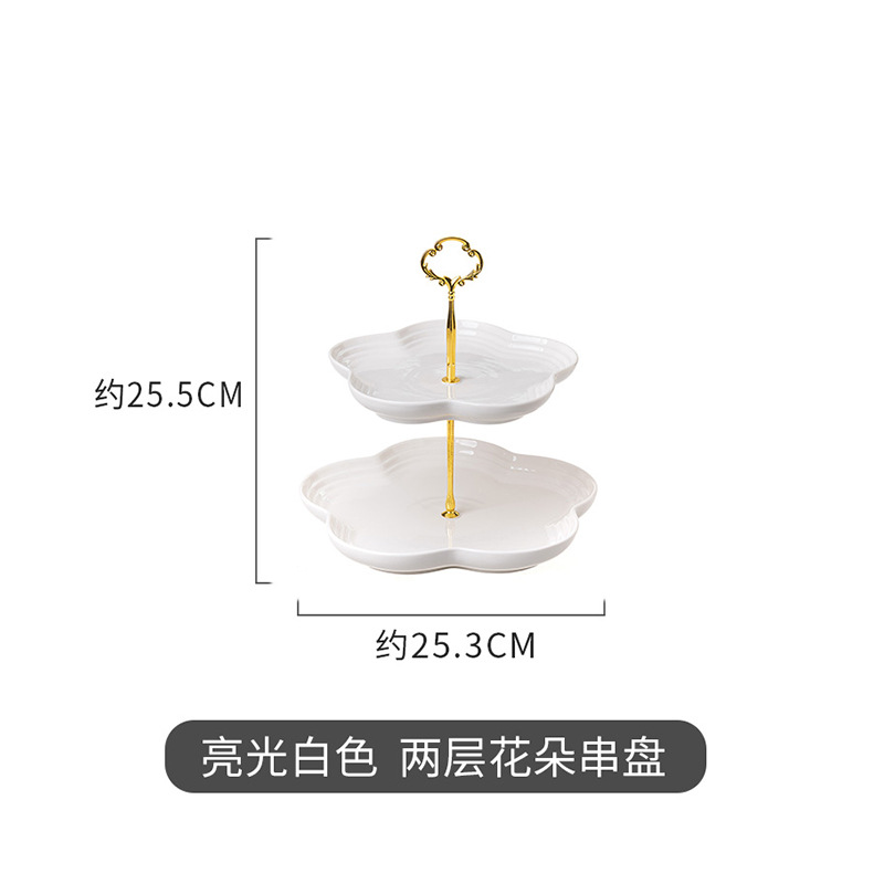 Layered Flower-Shaped Porcelain Food Tray for Indoor Gathering