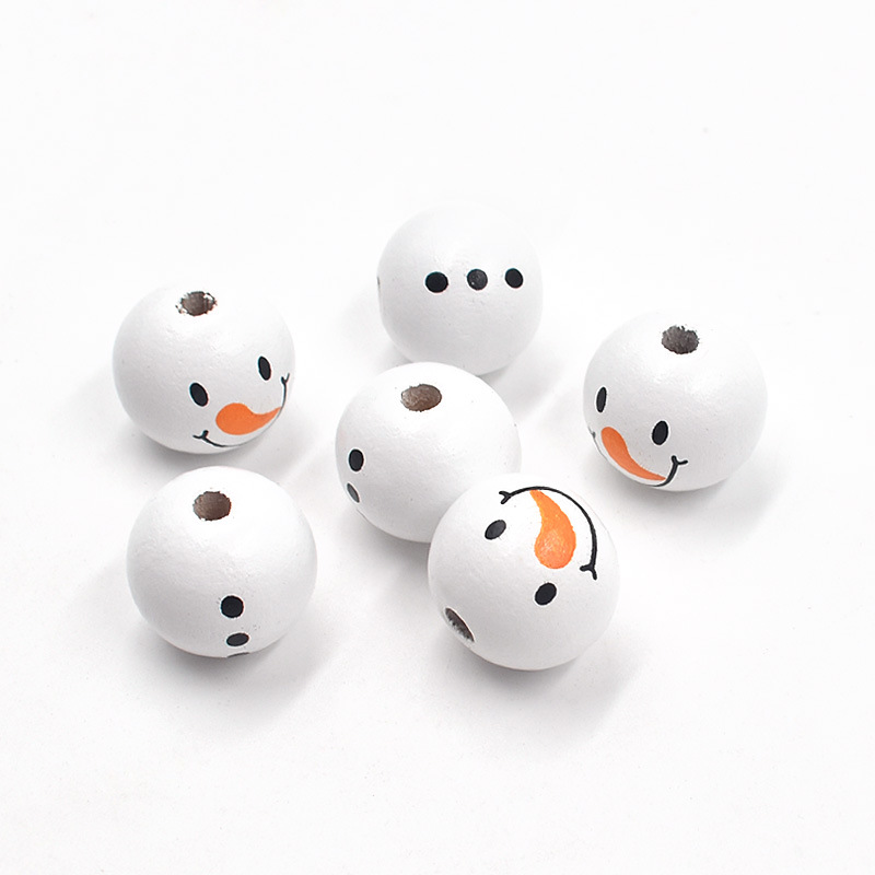White Wooden Snowman Beads for DIY Christmas Decoration