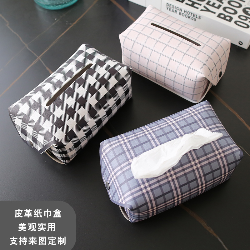 Checkered Synthetic Leather Tissue Box Cover for Novelty Room Decor