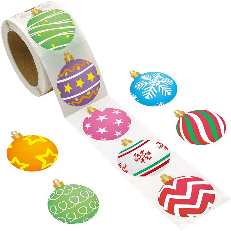 Circular Christmas Stickers for Decorating Gifts