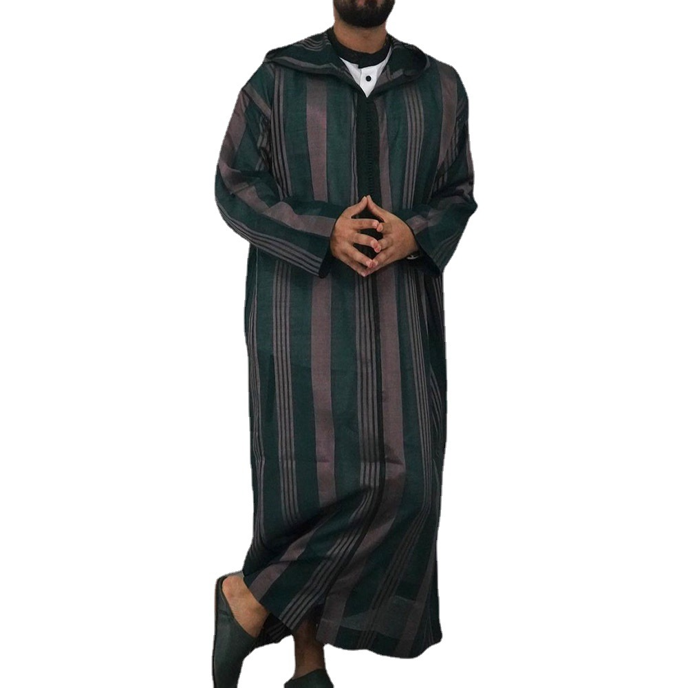 Vertical Striped Hooded Kaftan for Men's Traditional Outfits