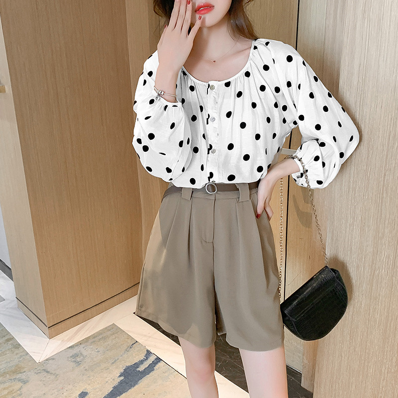 White Round-Neck Polka Dots Shirt with Bishop Sleeves for Semi-Casual Wear