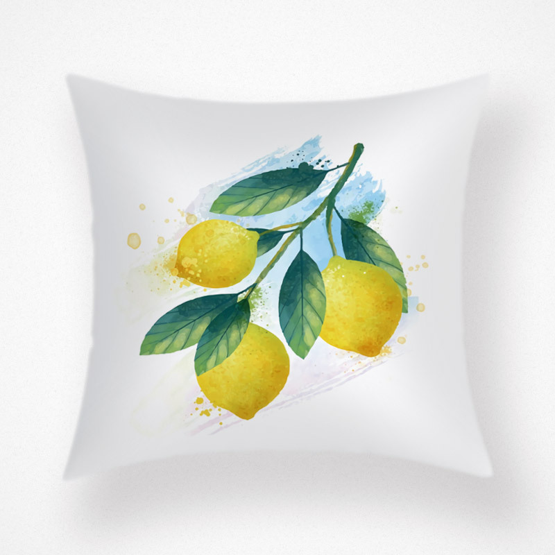 Green Leaves and Fruit Print Pillowcase for Summer Season Design