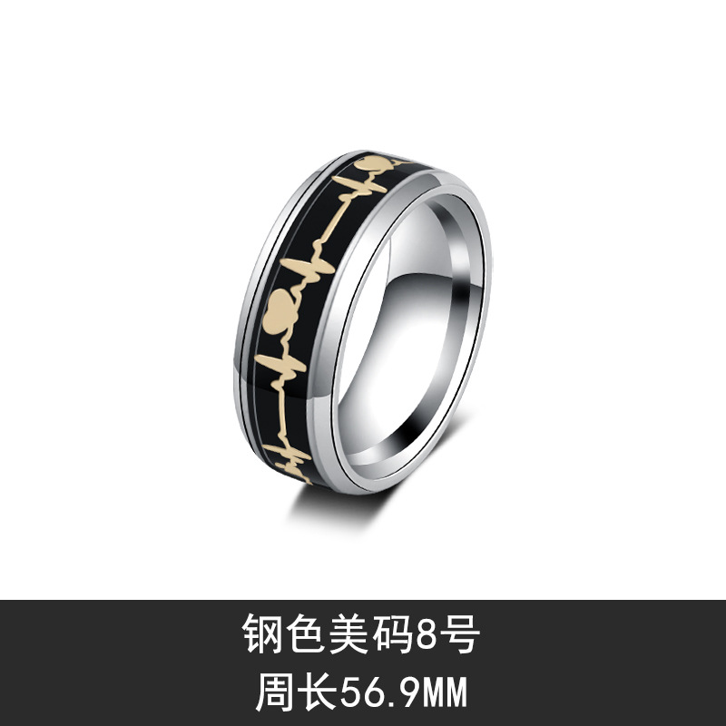 Simple Heart Design Stainless Steel Ring for Domineering Looks