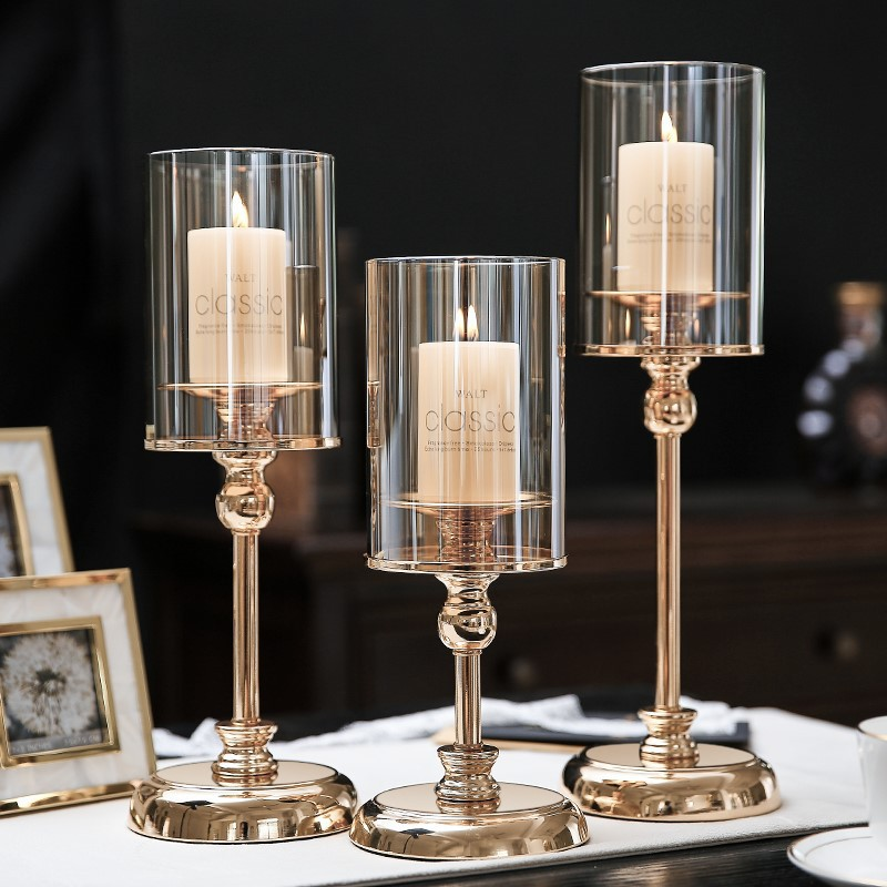 Luxurious Transparent Alloy and Glass Candleholder for Romantic Dates