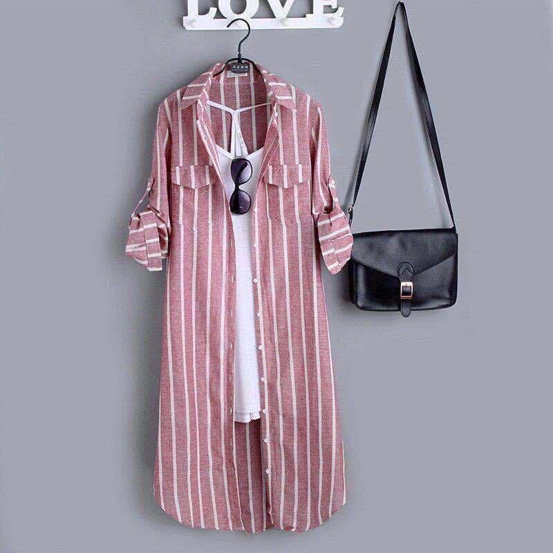 Cozy Striped Button Up Long Dress with White Inner Sleeveless Top for Ladies' Street Wear