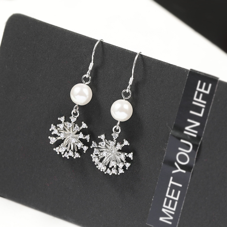 Fashionable Silver-Plated Copper Dangle Earrings with Sun Flower Pendant for Formal Gatherings