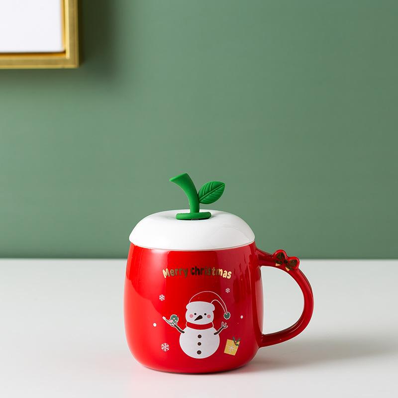 Adorable Christmas Element Print Ceramic Mug for Hot Coffee