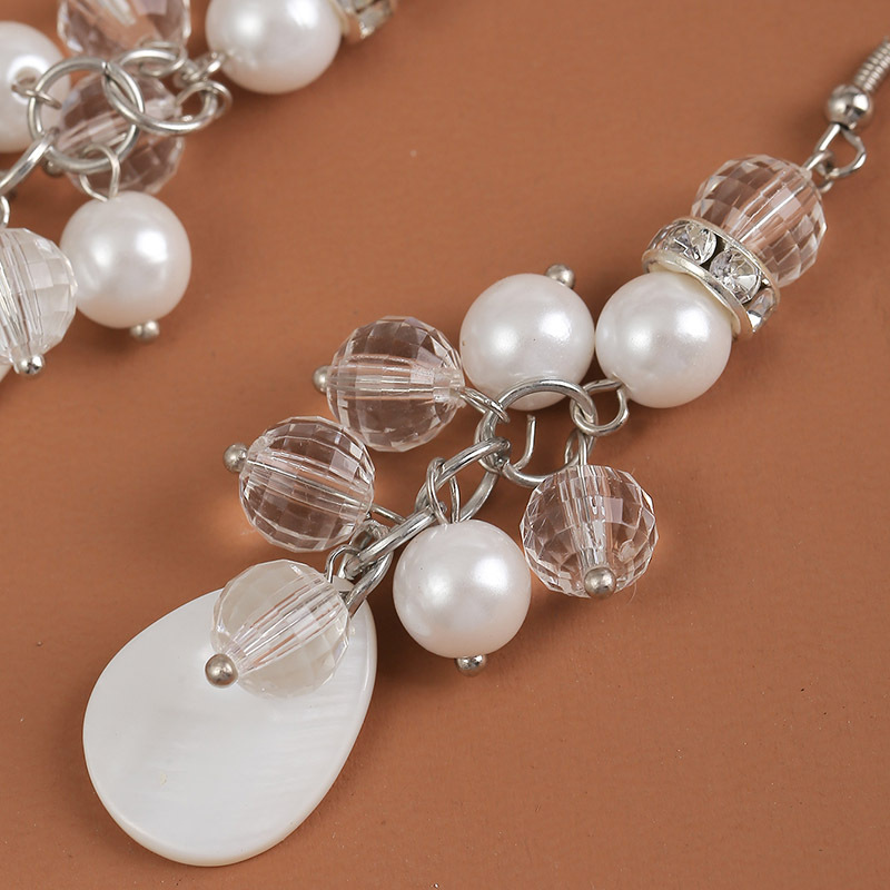 Simply Pretty Synthetic Pearls Detailed Hanging Alloy Hook Earrings for Parties