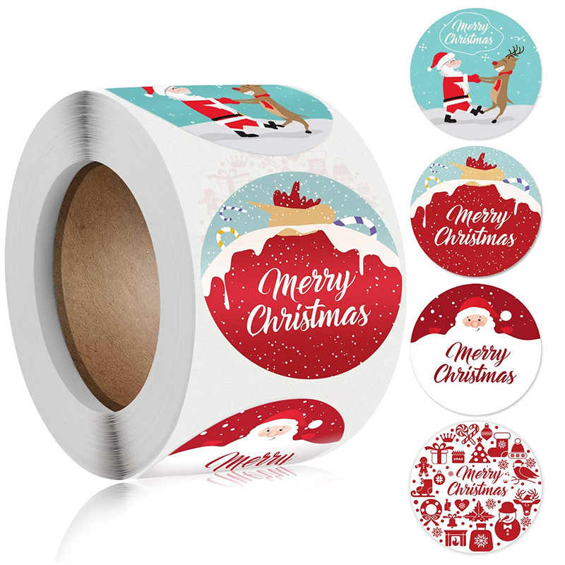 Creative Festive Holiday Stickers for Merry Decorative Packaging