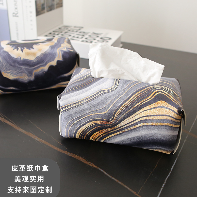 Unique Pattern Design Syntethic Leather Tissue Box Cover for Modest Vibe Table Decor