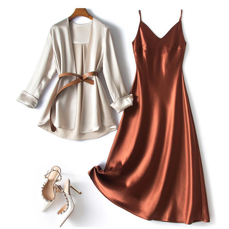 Satin V-Neck Satin Dress with Cover Up for Evening Parties