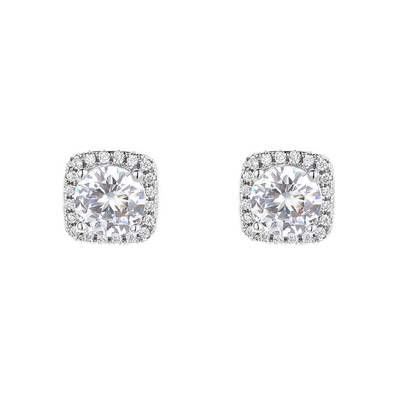 Beautiful Square Imitation Moissan Diamond Stud Earrings for Ladies