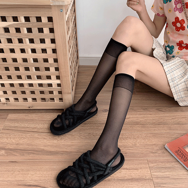 Comfy Mesh Knee High Socks for Korean-Style Outfit