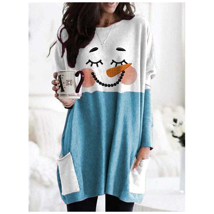 Sweet Snowman Double-Pocket Shirt for Women's Wear