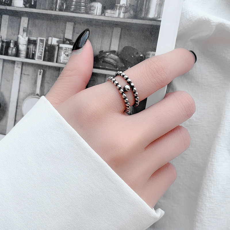 Stylish Silver Double Layer Ring for Casual Accessories