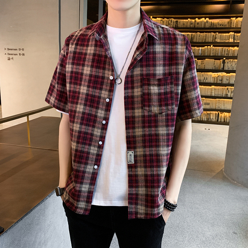 Stylish Plaid Short-Sleeve Shirt for Casual Friends Get-Together