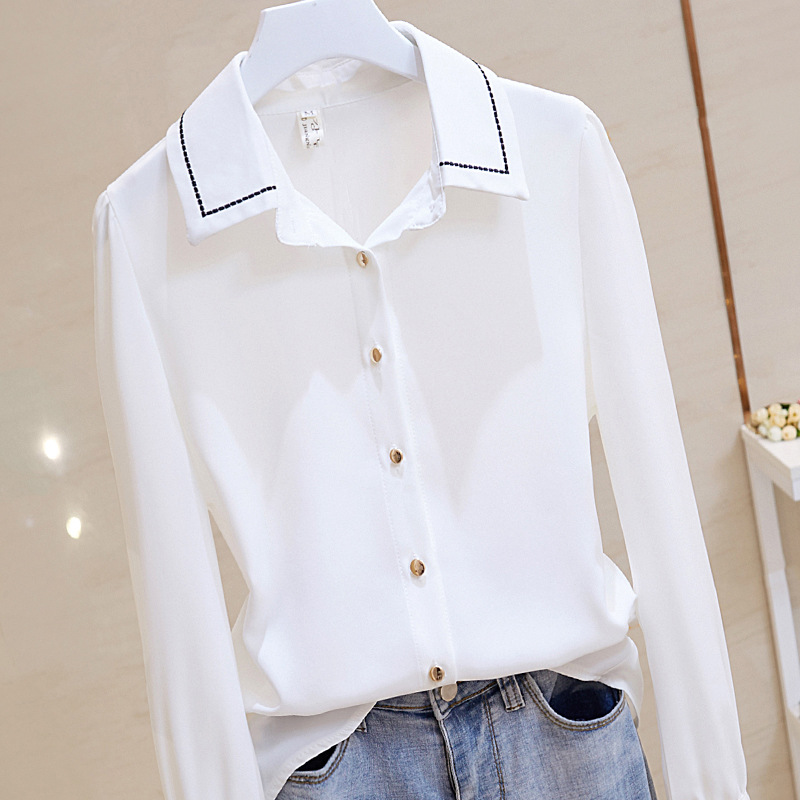 Neat White Long Sleeve Shirt for Office Fashion