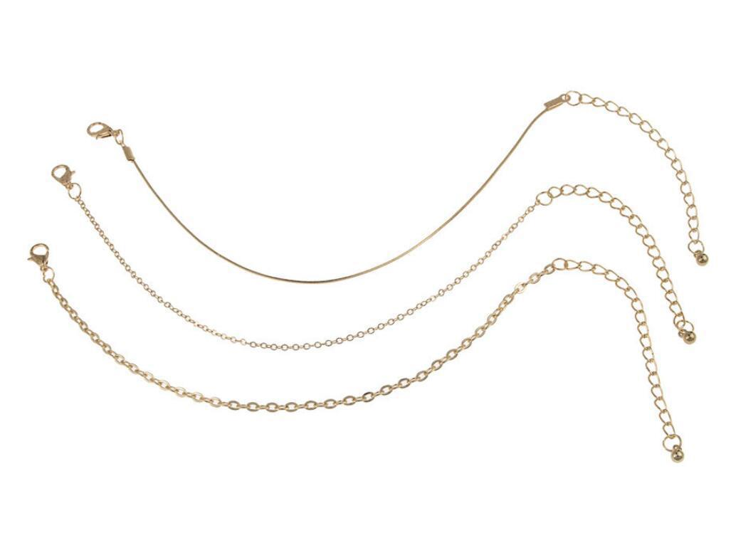 Gold-Tone Thick Cable Chain Anklets for Stylish Look