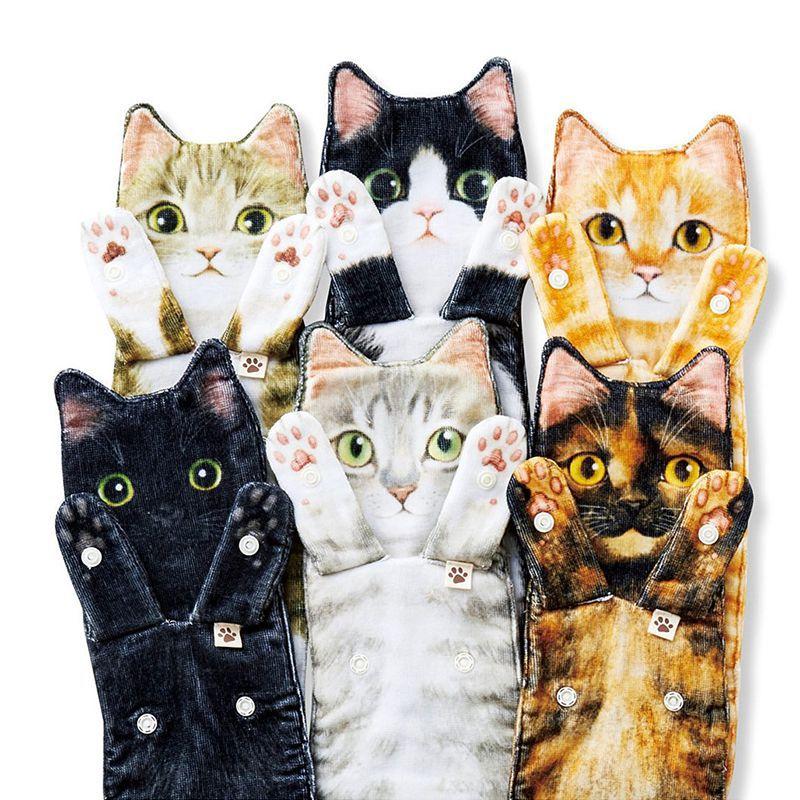 Quick-Drying Cat-Shaped Untwisted Yarn Hand Towel for Fur Moms