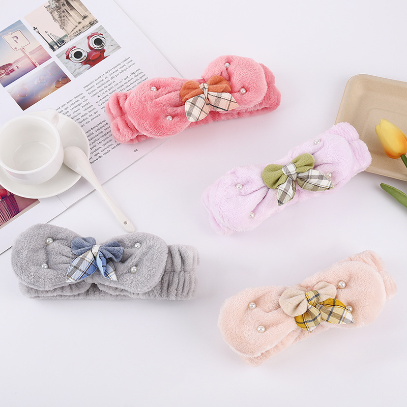 Fluffy Pearl Bow-Knot Face Wash Headband to Keep Hair from Falling