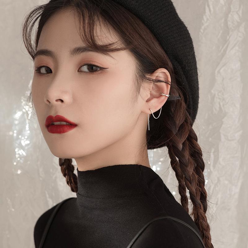 Long Sterling Silver Tassel Ear Cuff Earrings for Simple Looks
