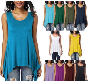 Loose-Fitting Asymmetrical Sleeveless Tank Top for Outdoor Activities