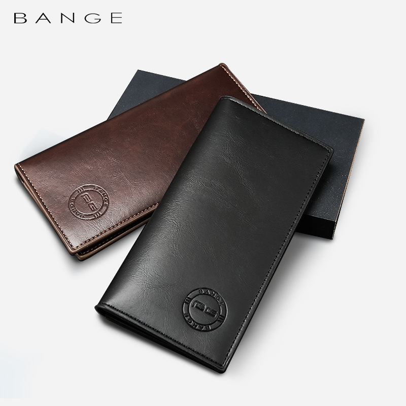 Deluxe Faux Leather Long Wallet for Men's Outdoor Cash Storage