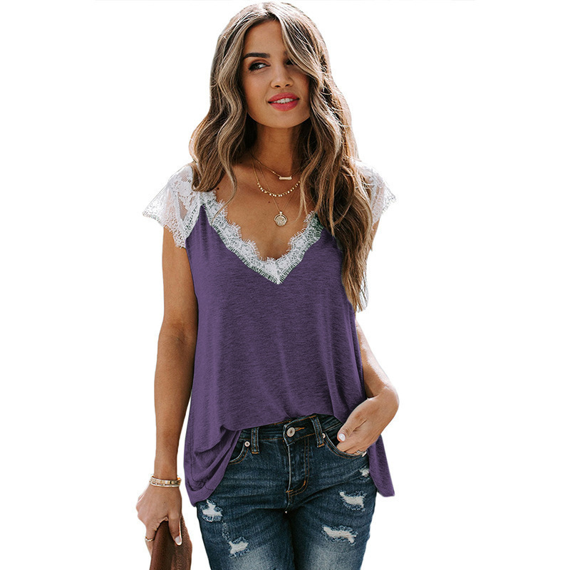 Simple Lace Stitching V-Neck Short T-Shirt for Ladies