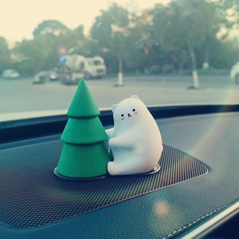 Cute Polar Bear with Christmas Tree Ornament for Car Decors
