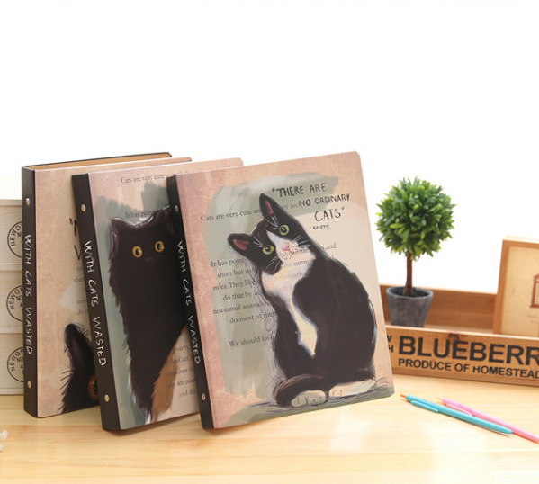 Quirk Cat Print Ring Binder Notebook for Writing Down Notes