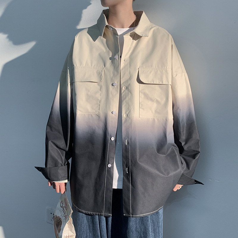 Oversized Gradient Color Shirt for Street Fashion
