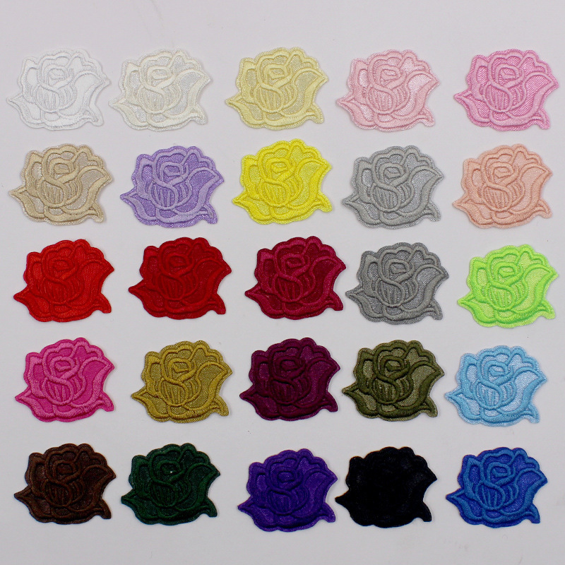 Iron On Stickers Rose Flower Embroidery Patch for Clothing Accessories