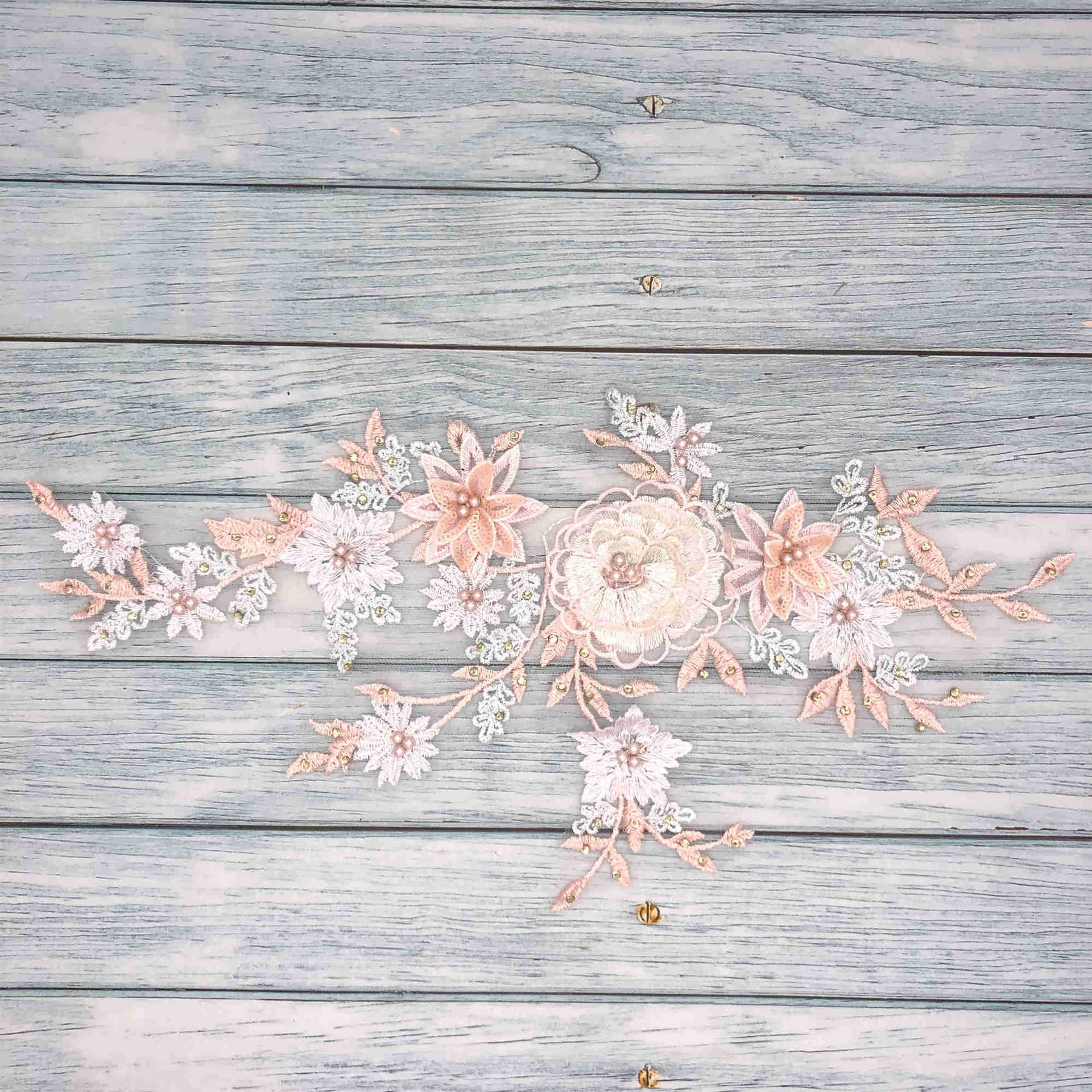 Elegant Colored Thread Lace Embroidered Flower Patch for Children's Clothing Accessories
