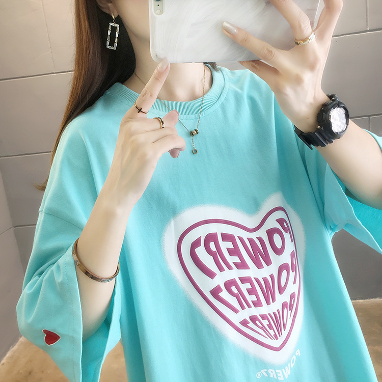 Pleasing Heart Graphic Oversized T-Shirt Dress for Daily Wear