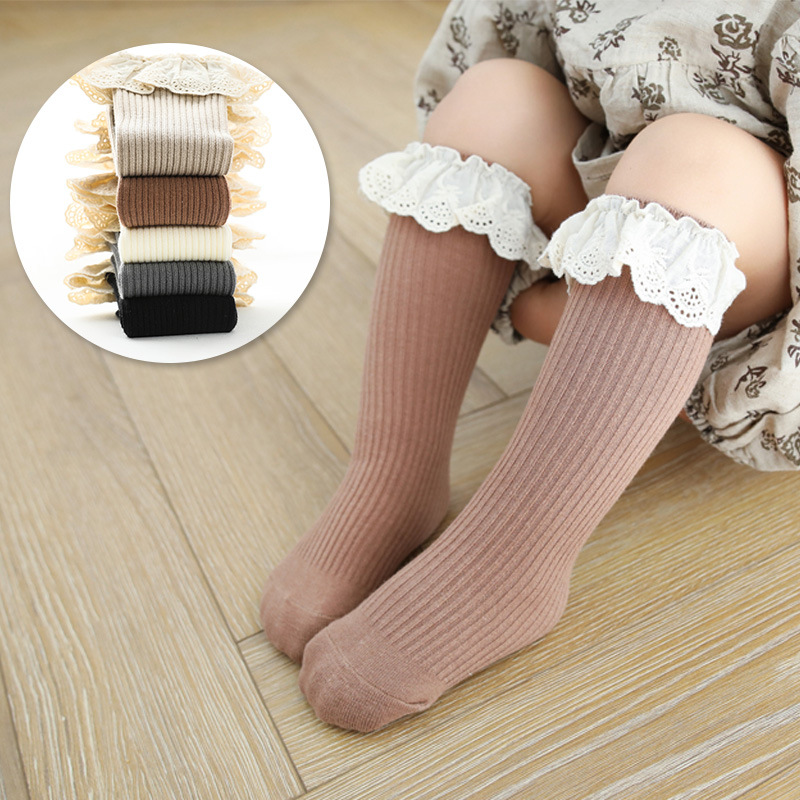 High-Quality Laced Cuff Combed Cotton Socks for Chidren's Outdoor Wear