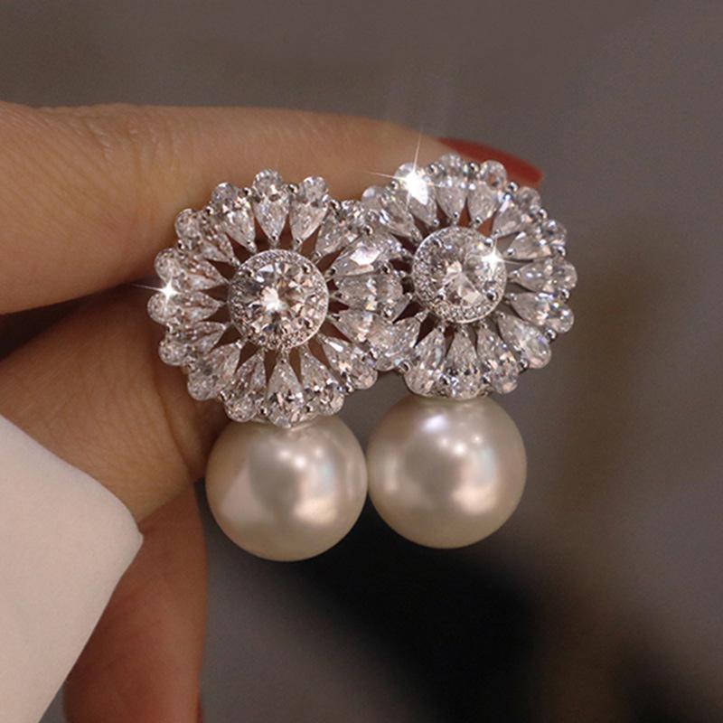 Fancy Faux Pearl Earrings for Formal Parties