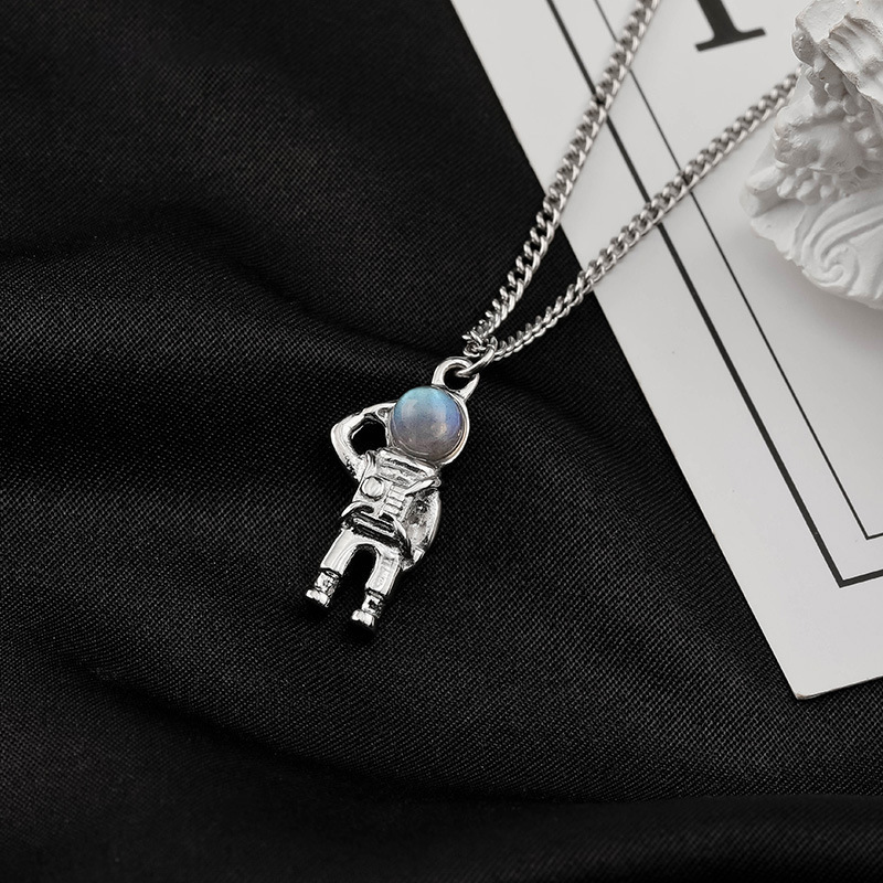 Sterling Silver Astronaut Necklace for Men's Wear