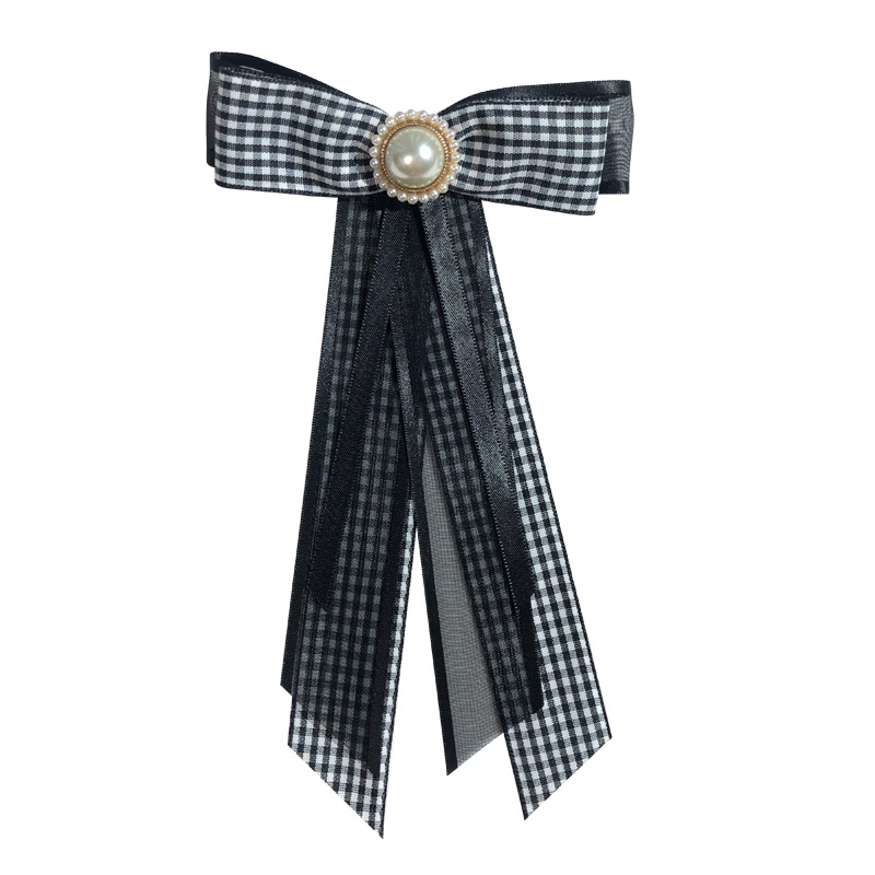 Elegant Lace Ribbon Brooch with Faux Pearl and Rhinestone for Formal Parties (Sold Separately)