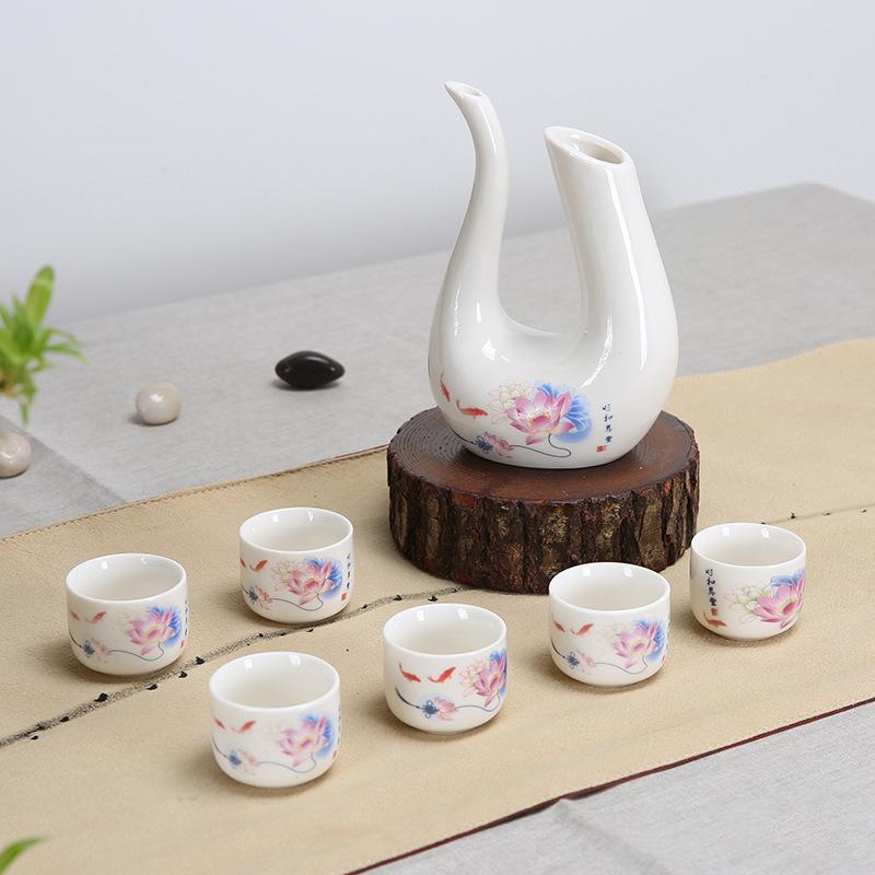 Traditional Floral-Printed Porcelain Tea Pot Set for Family Tea Parties