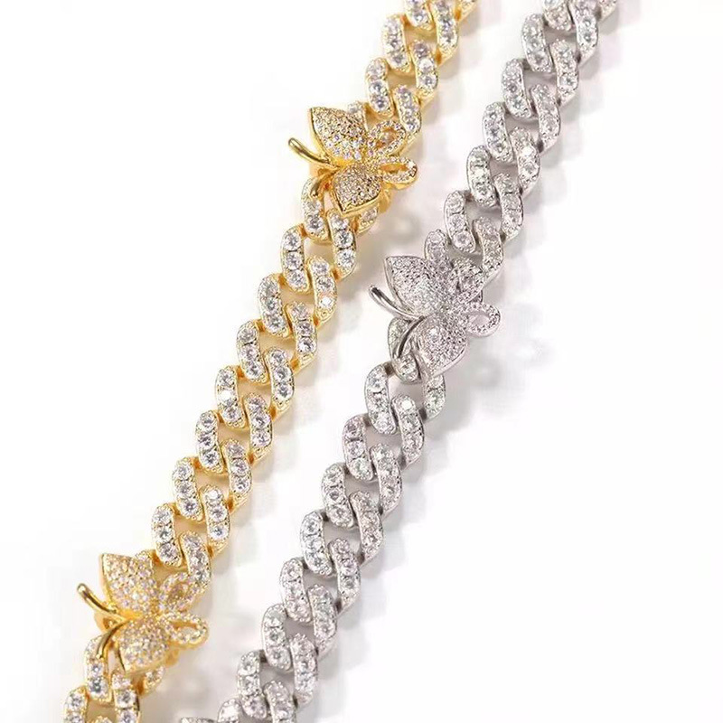 Elegant Plated Wide Chain Anklets Designed with Artificial Diamonds