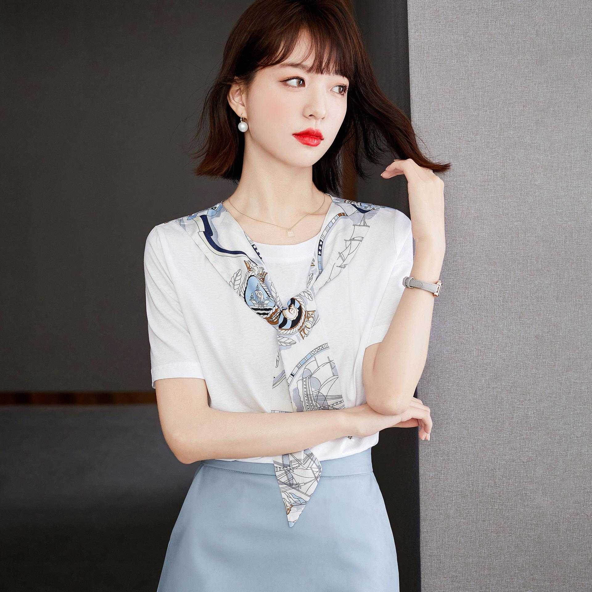 Minimalist Short Sleeve T-Shirt with Silk Scarf for Women