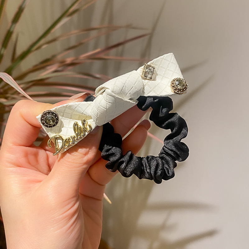 Smooth Leather Rhinestone Bow Flexible Scrunchie for Lunch Dates
