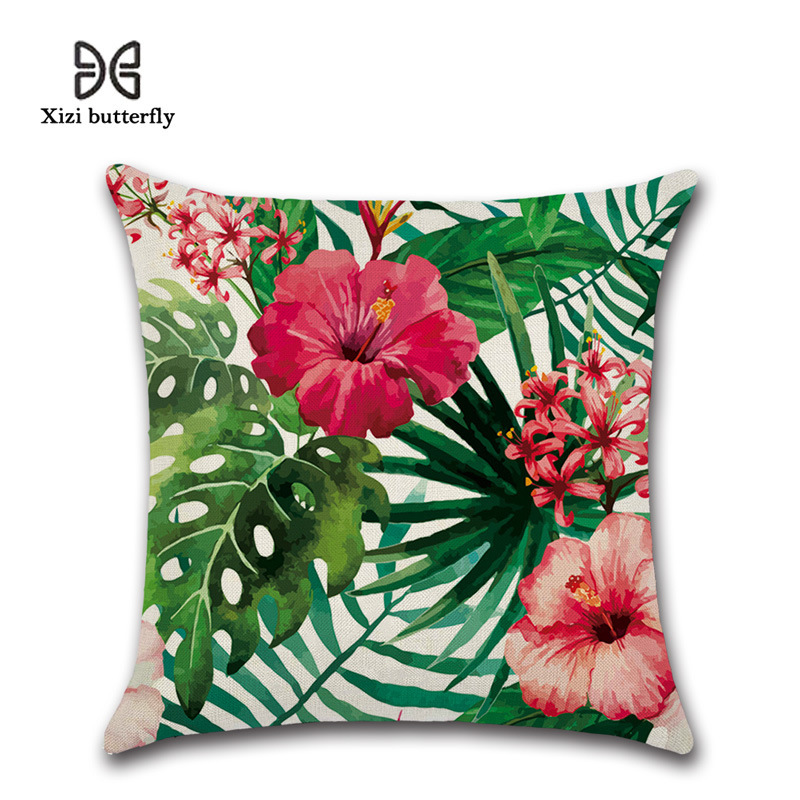 Tropical Plants and Flamingo Print Linen Pillowcase for Tropical Hotels