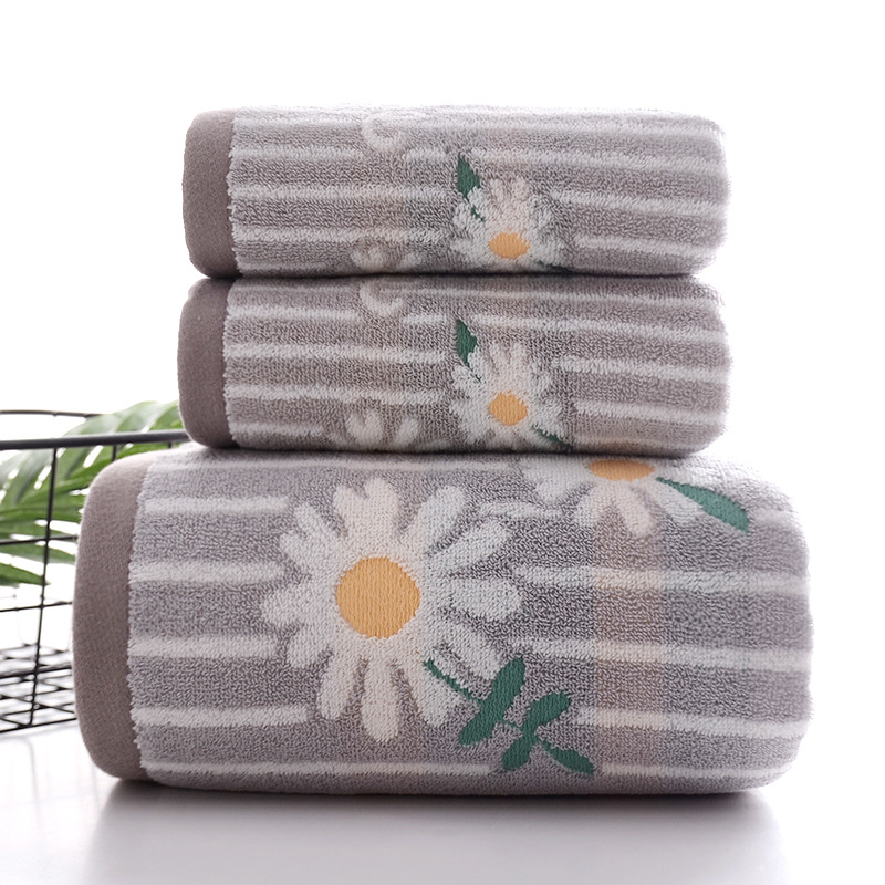 Soft Striped Bath Towel with Flowers in for Going on a Summer Vacation