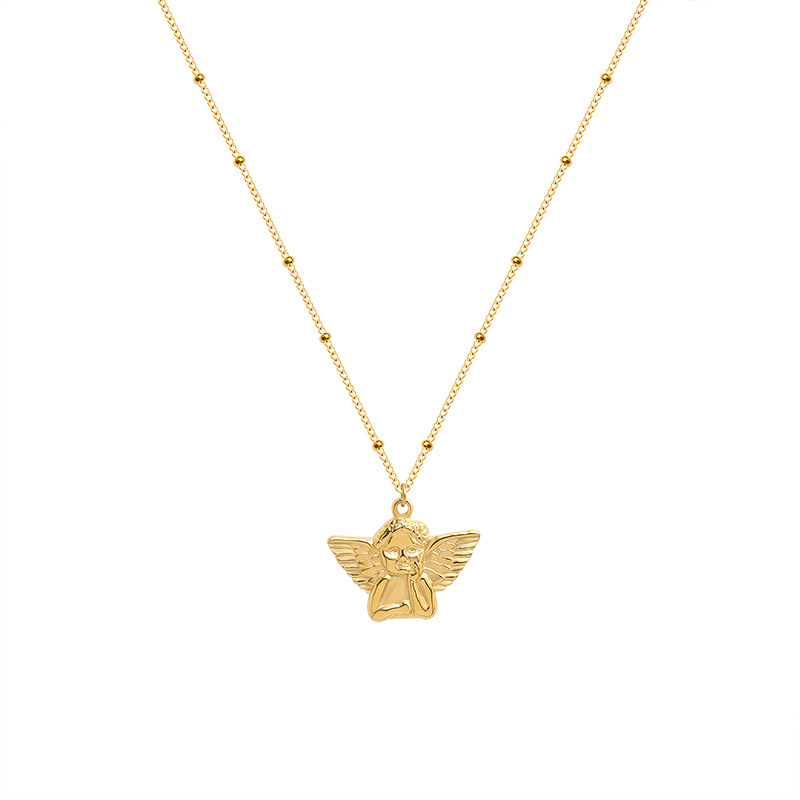 Radiant Little Angel Pendant Titanium Steel Necklace for Anniversary Gifts